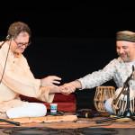 PS21 2015 Indian Concert Steve Gorn Samir Chatterjee handshake